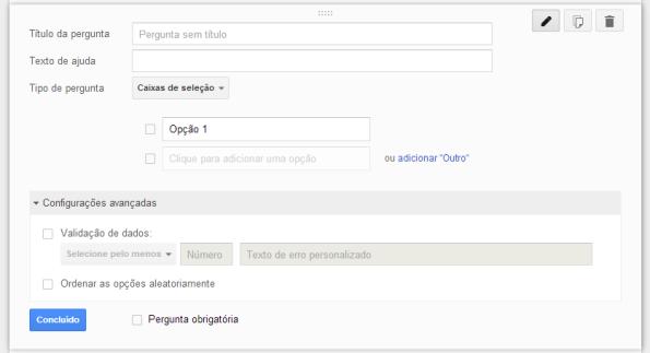 google docs - questão do tipo caixa de seleção - construção