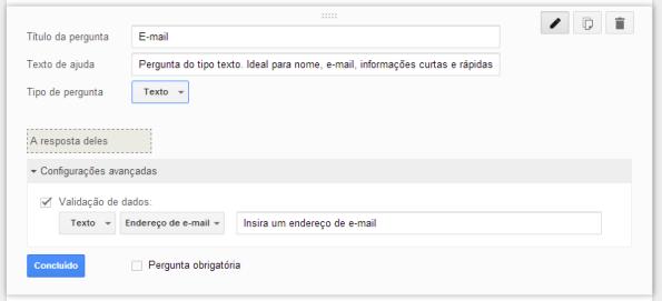 google docs - questão do tipo texto - construção