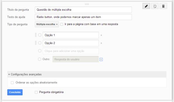 google drive questão multipla escolha construção