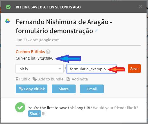 google docs - formulário - bit ly link