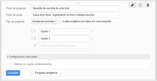 google docs - questão do tipo escolha de lista - construção