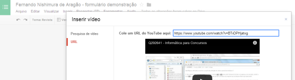 google docs - vídeo - construção